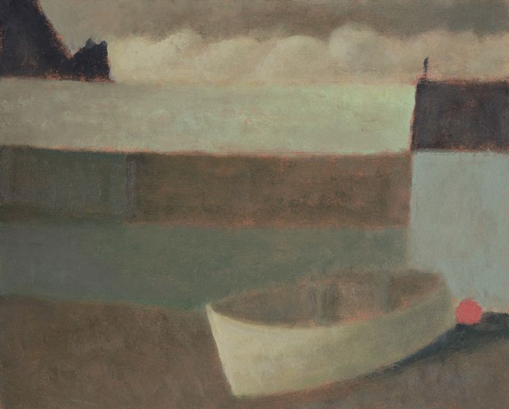 Nicholas Turner 'White Boat at Mullion Cove', oil on board