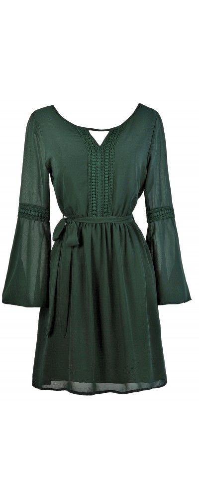 Lily Boutique Fall For You Bell Sleeve Hippie Chic Dress in Forest Green, $35 Green Bell Sleeve Dress, Cute Boho Dress, Cute Fall Dress, Forest Green Dress www.lilyboutique.com