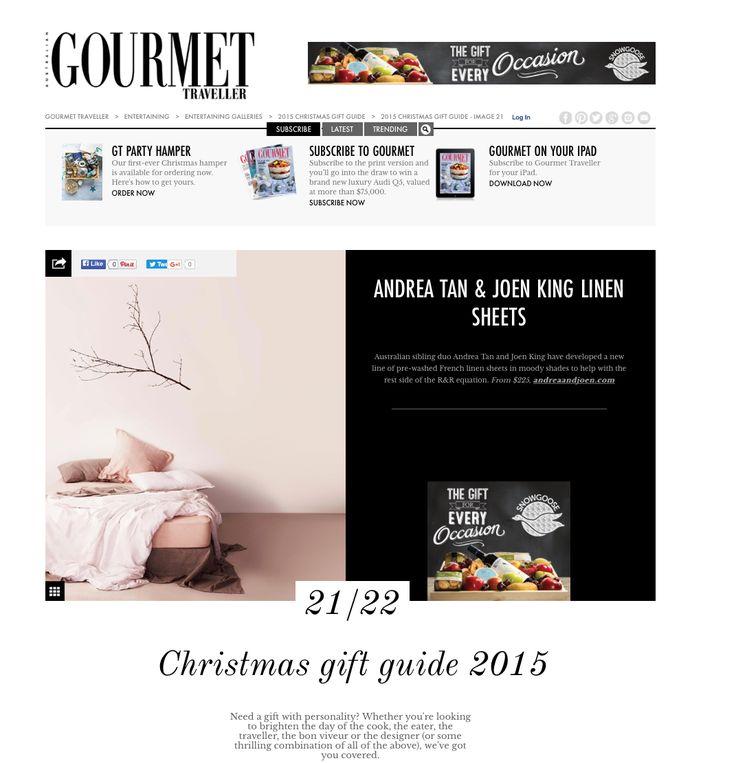 Andrea & Joen French Bed Linen in Gourmet Traveller