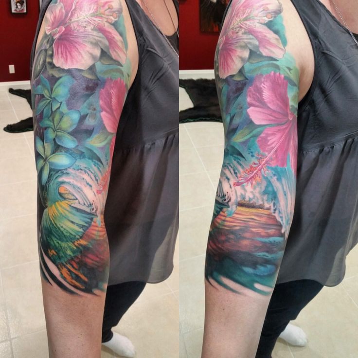 My tropical sleeve is finished! Artist: Damian Robertson @ Robertson Tattoo Company - Calgary, Canada : tattoos