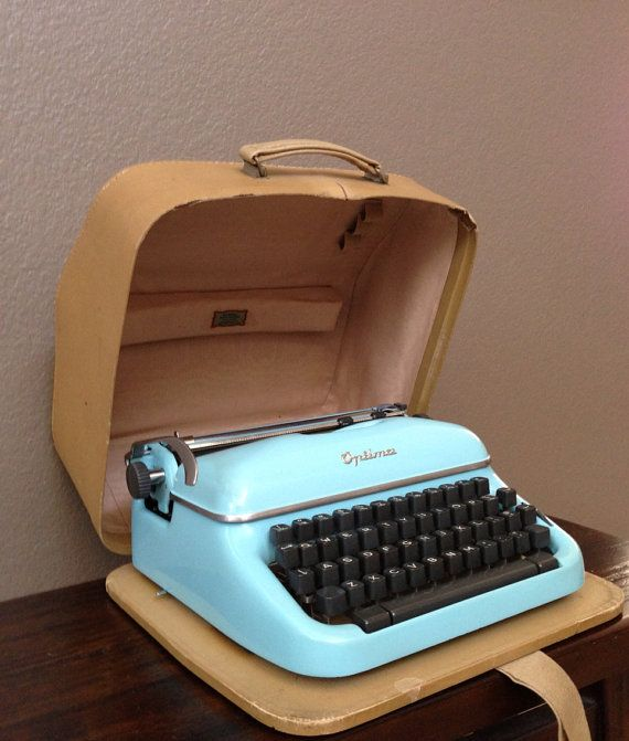 Antique Vintage Optima Super Baby Blue Portable Typewriter with Case.  Germany.