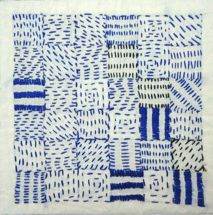 Patch work with running stitch