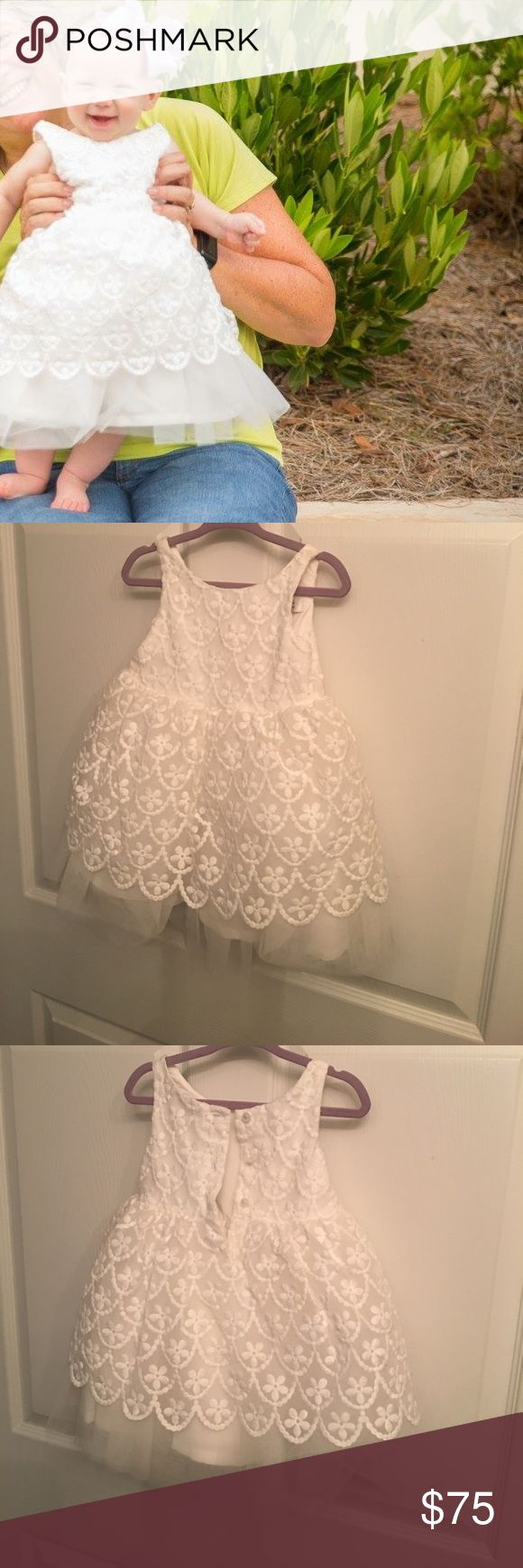 Janie and jack beautiful white formal dress Only worn once for six month pictures great condition!! Retails for210$ new beautiful dress Janie and Jack Dresses Formal