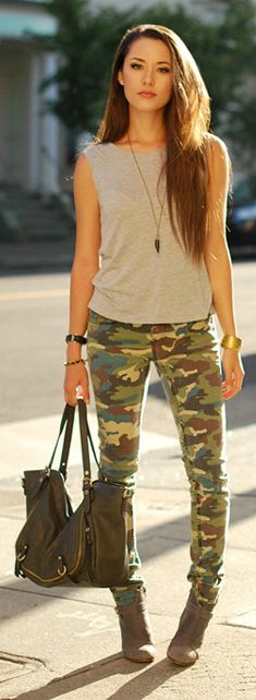 Camo Pantscan be dressed up or down paired with solid, basic tees or tanks, or blouse. combat boots for the military look