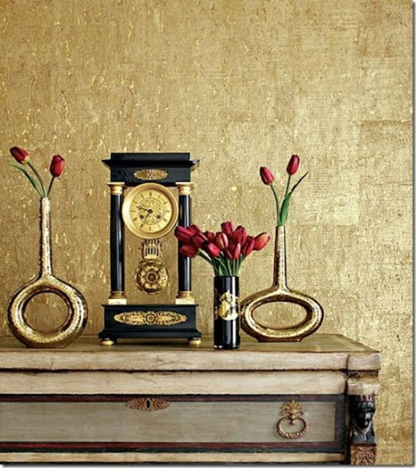 Schlafzimmer Tapete Gold : Rooms with Metallic Paint
