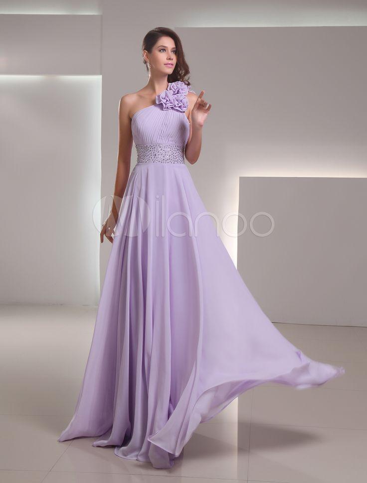 Vestido de fiesta de gasa de color lila con diamantes de imitación de línea A - Milanoo.com