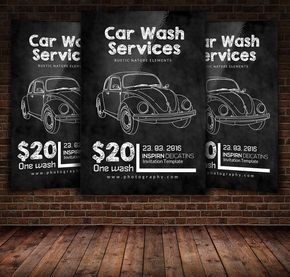 chalkboard car wash flyer template by psd templates on