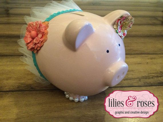 Ballerina Princess Piggy Bank with Tutu by Liliesandroses7 on Etsy, $35.00