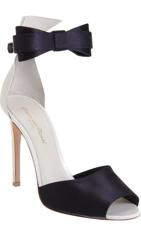 GIANVITO ROSSI Bow Tie Sandal $775 Leather and satin peep toe two-piece sandal with thick band at toe, contrast closed back and adjustable bow tie ankle strap featuring a gold-tone buckle.