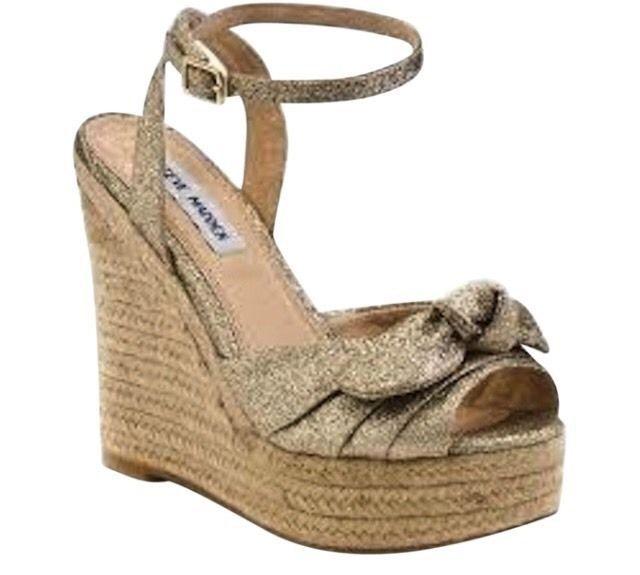 Steve Madden Glitter Gold Bow Wedges 9 1/2 Shoes Heels sandals Beach Platform  | eBay