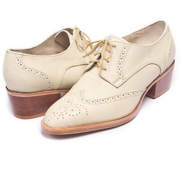 ivory oxford brogues shoes cuban heel FREE WORLDWIDE SHIPPING (256,770 KRW) ❤ liked on Polyvore featuring shoes, oxfords, oxford brogues, brogue oxford, brogue shoes, balmoral oxfords and ivory shoes