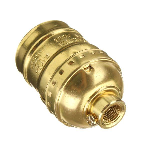 Retro objímka E27 • hliník • zlatá, Žiarovky.eu, LED žiarovky, LED pásy, dekoračné žiarovky, Historické svietidlá,