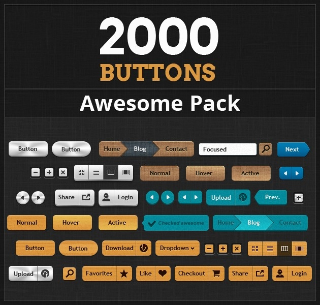 Been looking for buttons for your website or mobile app? Here is a link to The Most Impressive Button Pack Ever: 2000 Buttons, 100 Design Styles, 5 Color Variations! #designresources