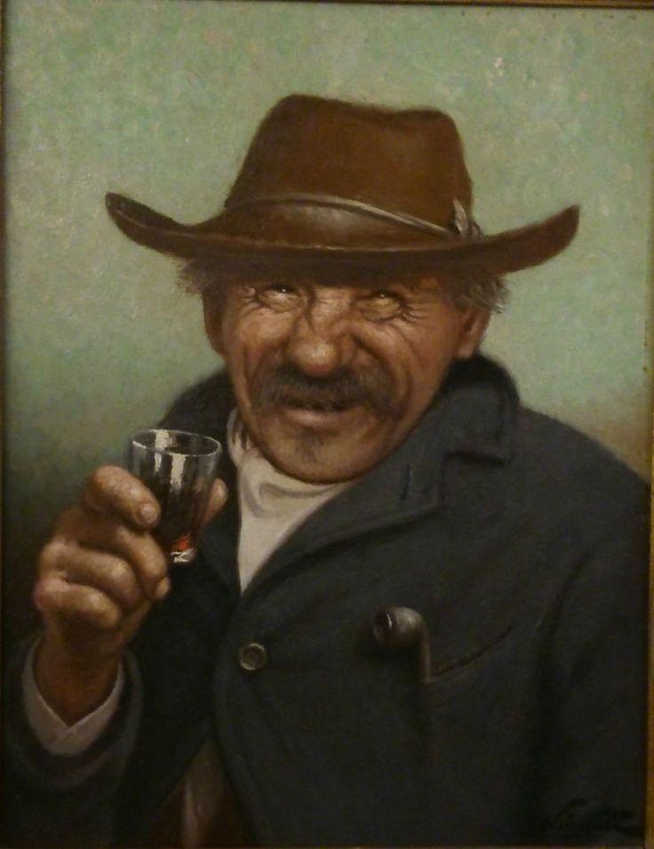 huile sur isorel NOIREAUT LEON portrait homme rieur buveur a la pipe 35 X 27 cms