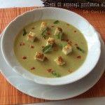 Crema di asparagi profumata alla menta con guarnizione di tofu croccante