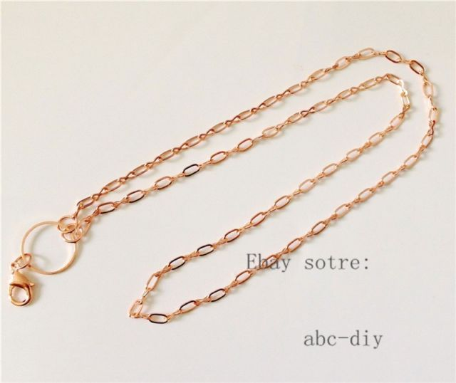 wholesale 10pcs rose gold necklace chain For Floating Memory Living Lockets N002   eBay