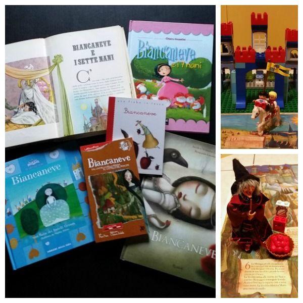 Leggere le fiabe ai bambini giocare con i libri, i mattoncini Lego e animali e personaggi di plastica. Fiaba Biancaneve e i sette nani