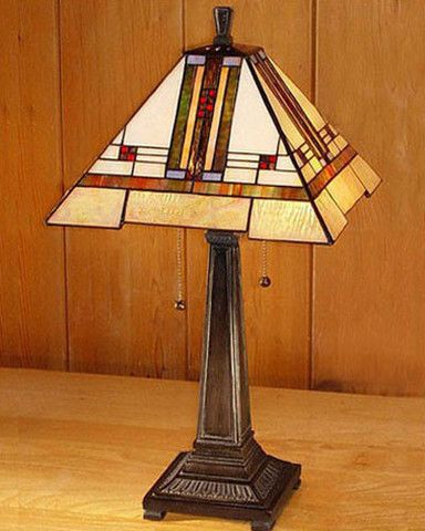 This Arts And Crafts Stained Glass Table Lamp Is In Height With A Shade  Width Of