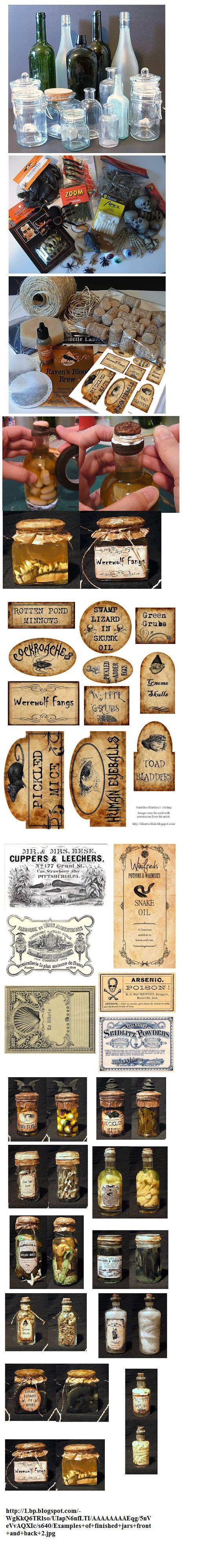 http://www.halloweenforum.com/halloween-crafts/108037-homemade-apothecary-jars.html examples of jars- great results!
