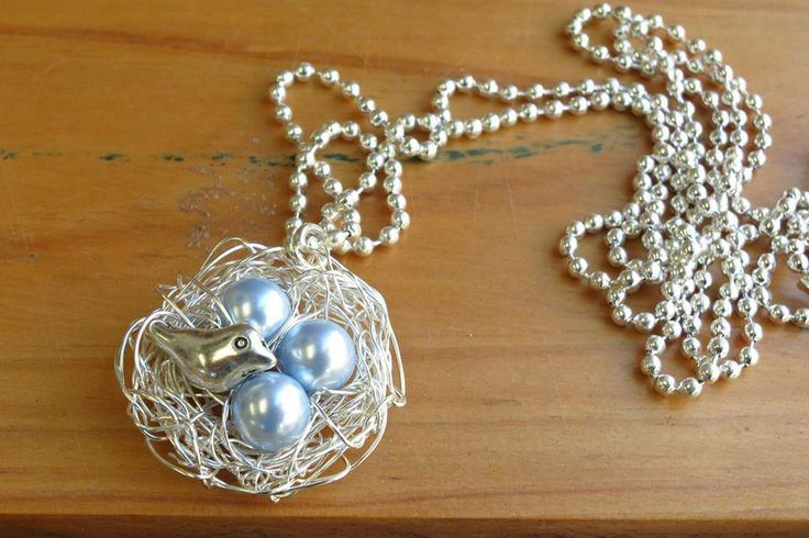 Swarovski Light Blue Pearl Hand Wrapped Bird Nest  Enchanted Forest Market Night 6th May, 2014