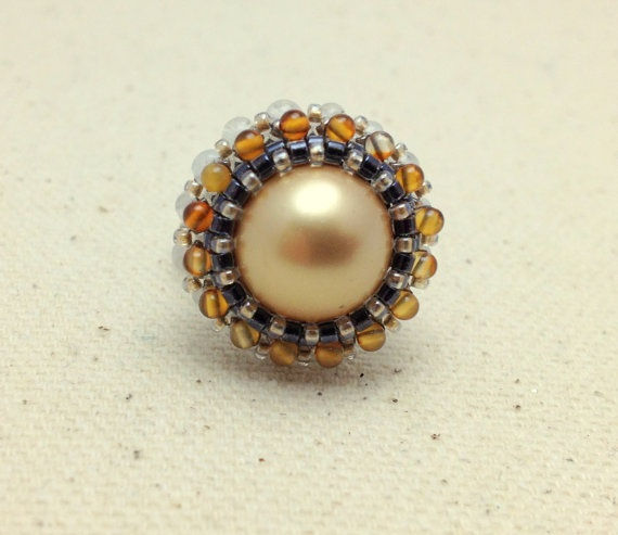 Gold Amber and White Adjustable Woven Ring with by RestlessArtMpls, $15.00