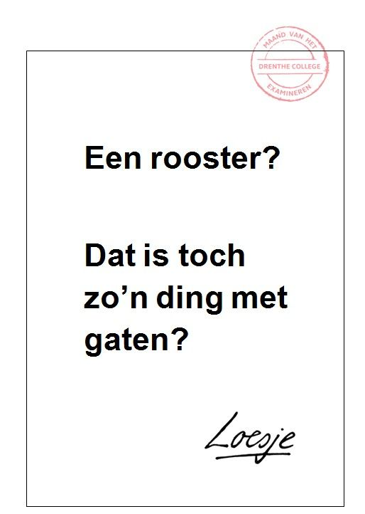 Een rooster? - Marion Beukers - Drenthe College