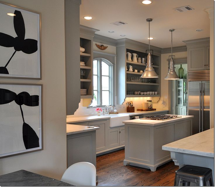 Another perfect gray kitchenOpen Shelves, Cabinets Colors, Grey Kitchens, Gray Cabinets, Painting Colors, Farmhouse Sinks, Benjamin Moore, Kitchens Cabinets, Painting Cabinets