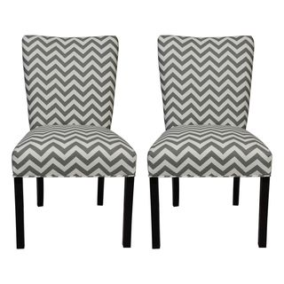 @Overstock - Give your home a new look with these fashionable chairs. This set of two chairs features fabric upholstery and an attractive finish.http://www.overstock.com/Home-Garden/Julia-Zig-Zag-Grey-Dinning-Chairs-Set-of-2/7634125/product.html?CID=214117 $240.99