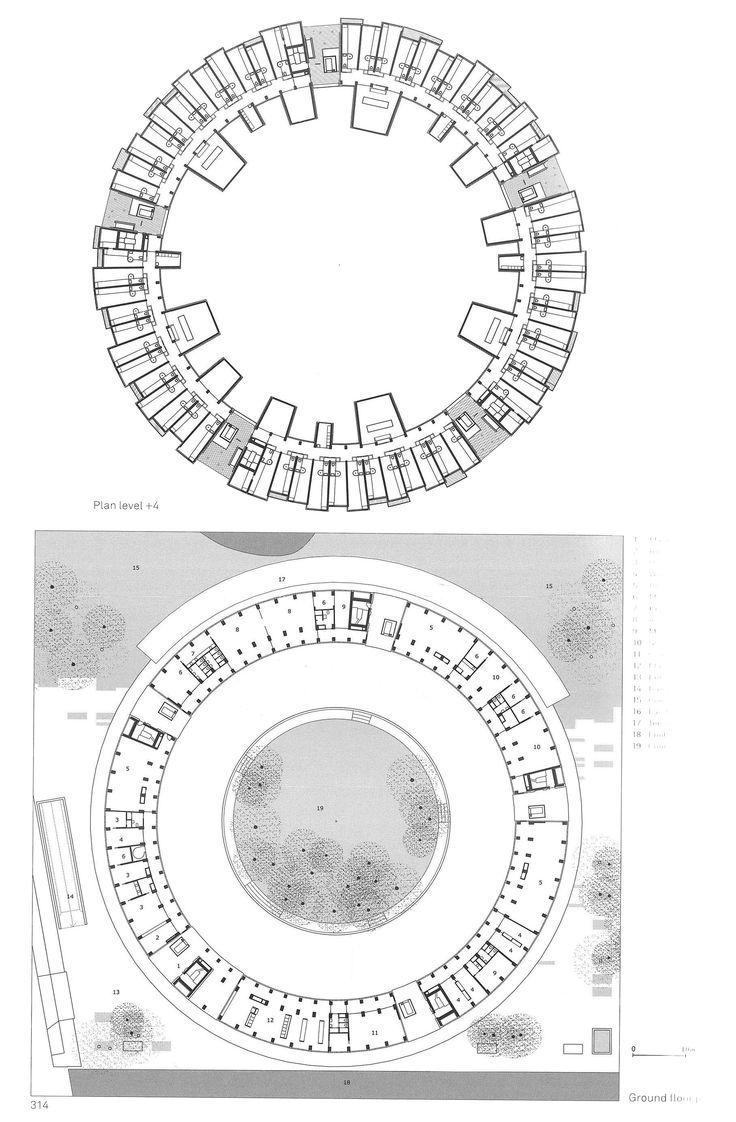 Tiegen Dormitory_Lundgaard & Tranberg_plan. Circular/ rectangular house, dual stories, with a central roof/courtyard/garden? (partial or full roof)
