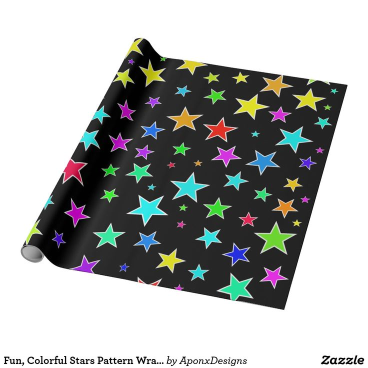 Fun, Colorful Stars Pattern Wrapping Paper