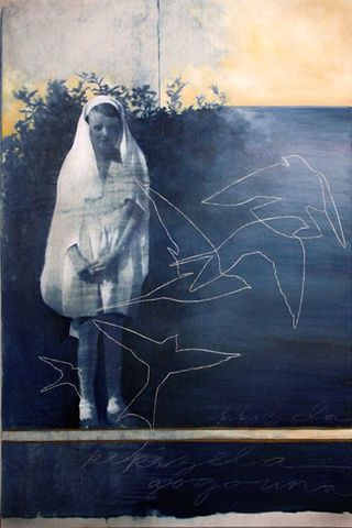 Kikizela Una - Cyanotype, Oil, and Embroidery on Canvas, 32x48 in