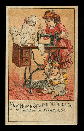 Big Kitty Cat on Sewing Machine Victorian Trade Card New Home Sewing Machine Co