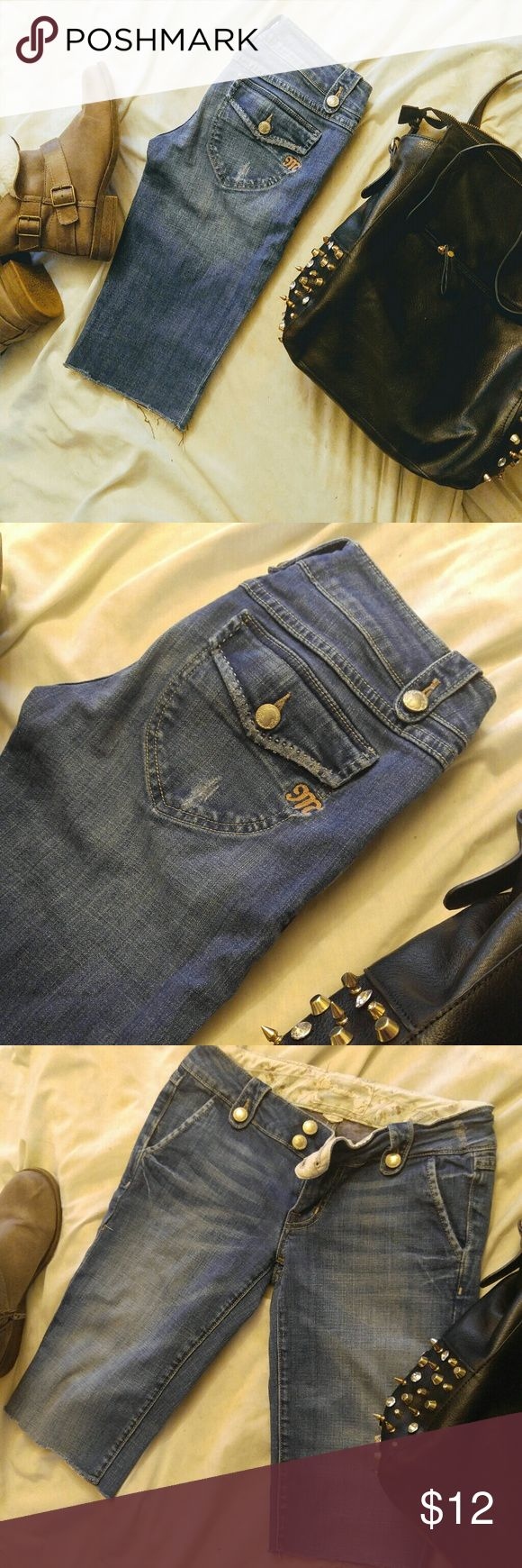 Miss Me Reminisce Collection Cutoff Jeans Shorts Miss Me Reminisce Collection Cutoff Jeans Shorts . Size 26. Homemade cut offs at knee. Reason for low price. Other wise flawless!!!!!!!!! You will love these. Take home for summer!!!! xoxo Miss Me Jeans