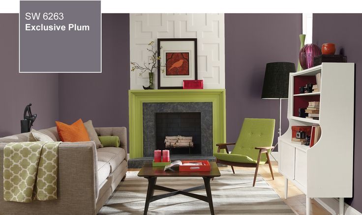 Pops of magenta and chartreuse can liven up #ExclusivePlum for a more energetic space and when paired with creamy whites or other neutrals, the mellow yet purposeful purple can turn any space into a refreshing retreat.