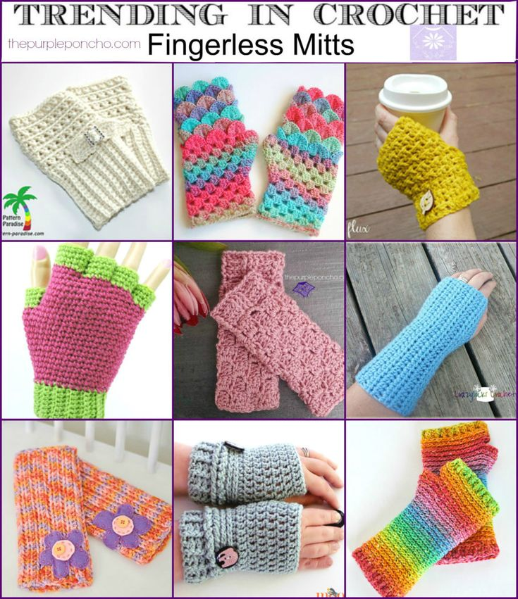 Trending In Crochet #9 – Fingerless Mitts on thepurpleponcho.com These make great gifts too!