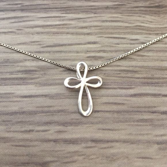 SPRING CLEANINGSimple cross necklace Cross charm on an 18in chain sterling silver Jewelry Necklaces