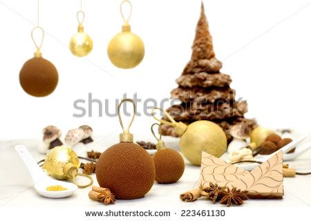 chocolate christmas bauble and sweets  for chirstmas table - stock photo