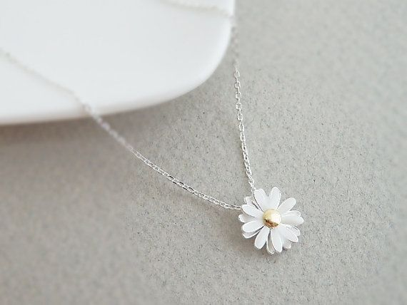 Cute silver plated daisy flower pendant necklace, Everyday Jewelry, Bridesmaid Jewelry, Flower girl jewelry on Etsy, $14.50