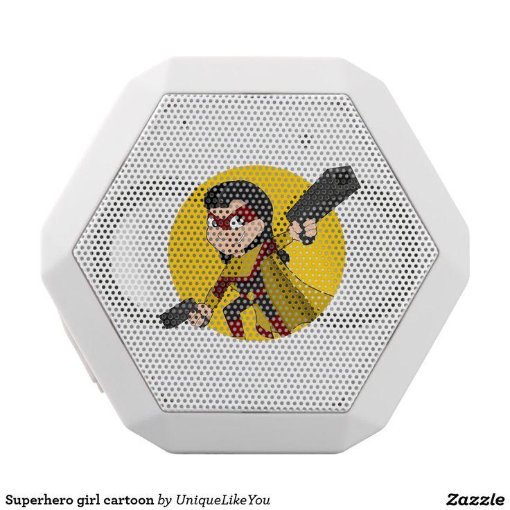 Superhero girl cartoon white boombot rex bluetooth speaker