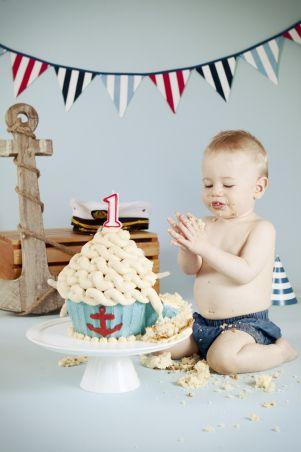 Ari first birthday nautical cake smash | CSC Photography Blog