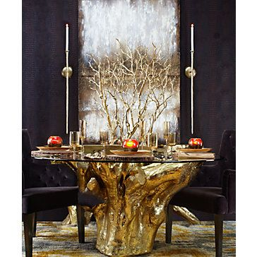 Gold Branch Tree In Pot Sequoia Dining Dining Room