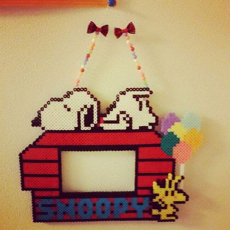 Snoopy photo frame perler beads