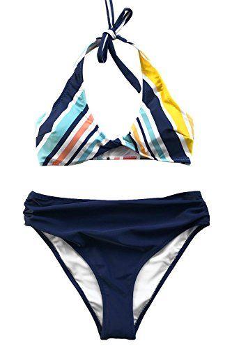 2e137ddc50a Fashion Women¡¯s Miracle Garden Stripe Halter Bikini Set Swimsuit Beach Swimwear  Bathing Suit