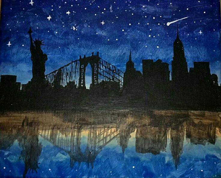New York Siluette Blue Dark Darkblue Stars Acrylic Paint painting Artwork Art beautiful Inspiration Brush