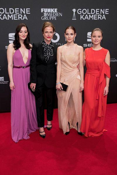 (L-R) Maria Ehrich, Claudia Michelsen, Emilia Schuele and Sonja Gerhardt arrive for the Goldene Kamera on March 4, 2017 in Hamburg, Germany.