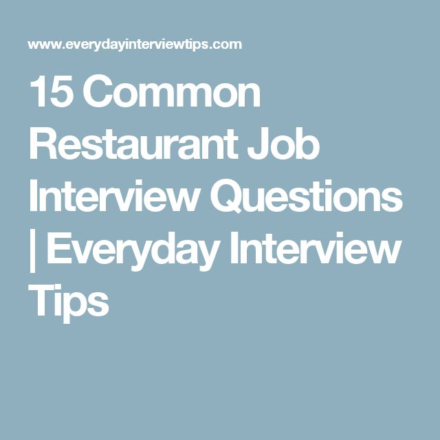 job interview questions for restaurants - Militarybralicious