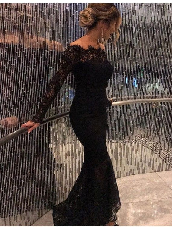 Sexy Mermaid Off the Shoulder Long Sleeves Sweep Train Black Lace Prom Dress