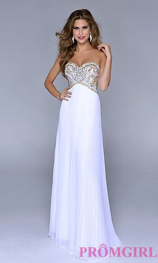 Strapless White Beaded Prom Gown by Nina Canacci at PromGirl.com