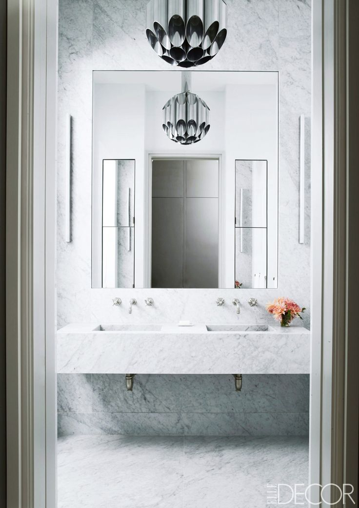 Modern cantilevered marble sink via @thouswellblog