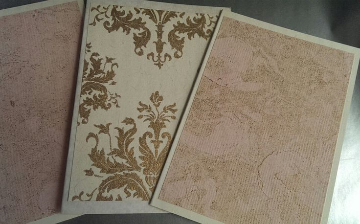4 handmade cards, pack of 4 blank note cards, beautiful papers in marbled pink and gold,  handmade stationery, blank note cards by SilverpressShop on Etsy